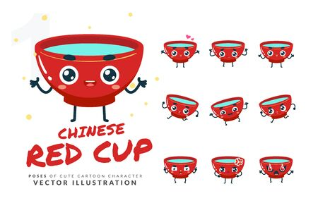 Vector set of cartoon images of Chinese Red Cup. Part 1
