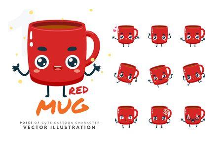 Vector set of cartoon images of Red Mug. Part 1