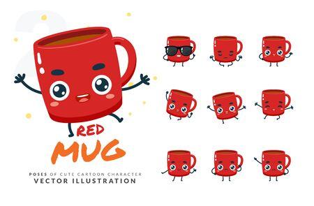 Vector set of cartoon images of Red Mug. Part 2