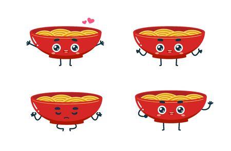 Vector set of cartoon images of Noodles. Part 1