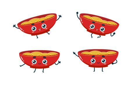 Vector set of cartoon images of Noodles. Part 2