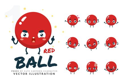 Vector set of cartoon images of Red Ball. Part 1