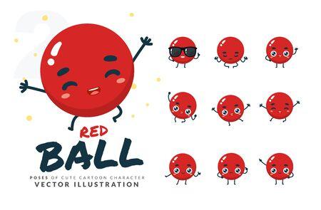 Vector set of cartoon images of Red Ball. Part 2 Stock Illustratie