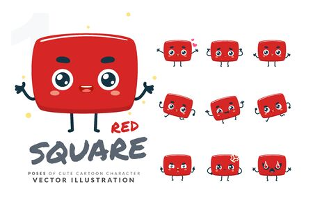 Vector set of cartoon images of Red Square. Part 1