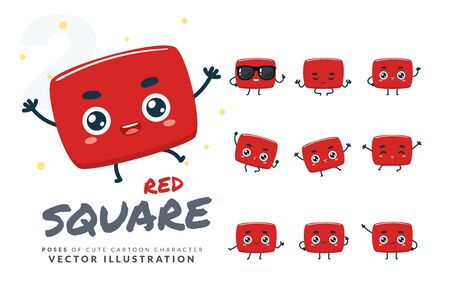 Vector set of cartoon images of Red Square. Part 2