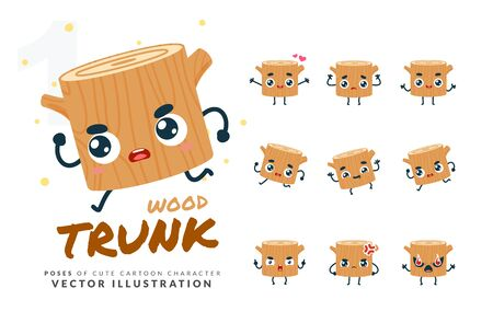 Vector set of cartoon images of Wood Trunk. Part 1