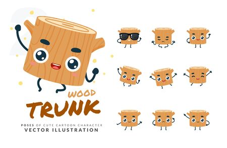 Vector set of cartoon images of Wood Trunk. Part 2