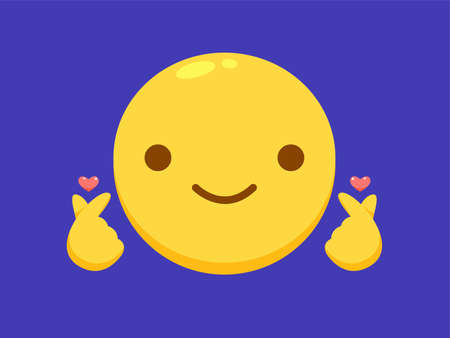 a smiley with hand gesture showing korean love sign.