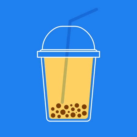 a cup of boba milk tea on blue background. Isolated Vector Illustration Stock Illustratie