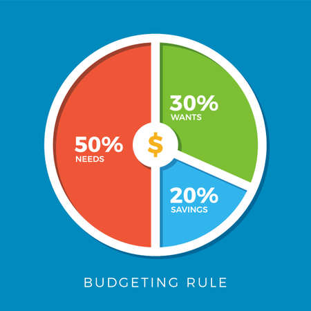 50 30 20 budgeting rule. Isolated Vector Illustration