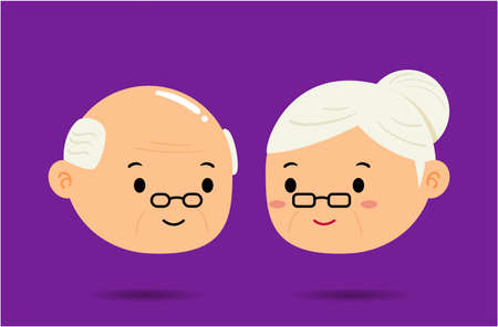 The Grandmother and Grandfather sign on purple background. Isolated Vector Illustration
