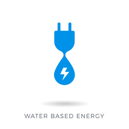 The Abstract sign of a power plug and a water. Water energy based