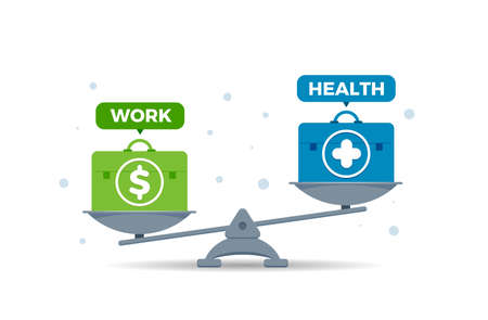 a imbalance scale of work and health factor. Isolated Vector Illustration
