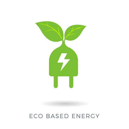 The abstract sign of a power plug and a plant. Eco energy based Isolated