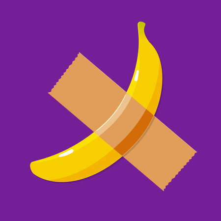 A banana and a duct tape. Isolated Vector Illustration