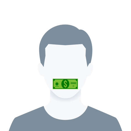 A portrait of a man with money on his mouth. Isolated Vector Illustration Stock Illustratie