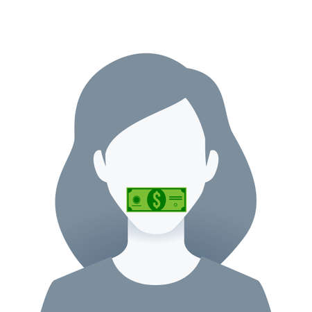 A portrait of a woman with money on her mouth. Isolated Vector Illustration