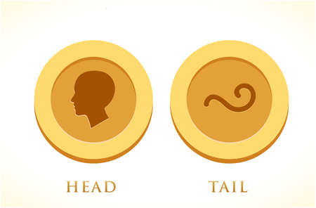 A set of Gold coin. Head and Tail. Isolated Vector Illustration Stock Illustratie