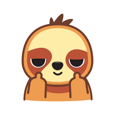 a sloth with middle finger. Isolated Vector Illustration