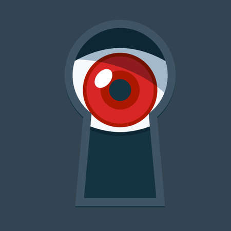 The eye behind the keyhole. Isolated Vector Illustration Illustration