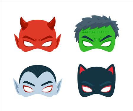 The Halloween Mask. Devil, Green Demon, Vampire, Cat. Vector Illustration Vecteurs