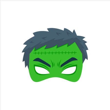 The Green Mad Mask. Isolated Vector Illustration
