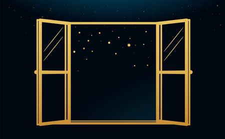 The wide window. golden boho style. Vector Illustration Vettoriali