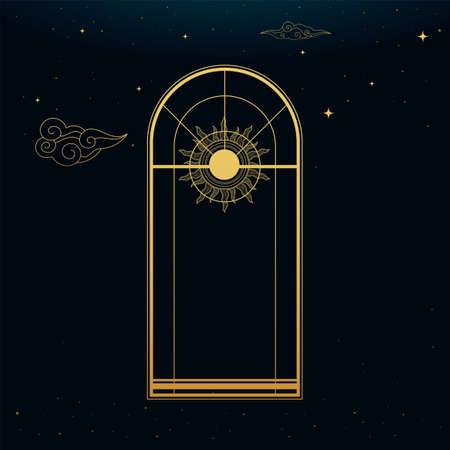 The Golden Tall Window. Golden Boho Style