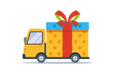 A transportation car with a big present. Isolated vector Illustration