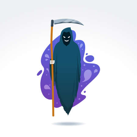 The Grim Reaper with the scythe. Isolated Vector Illustration