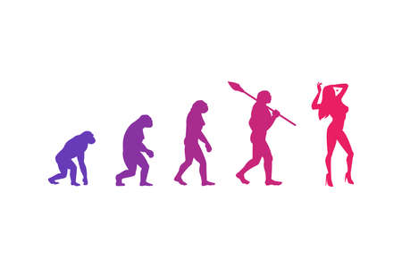 The evolution theory of woman. Isolated Vector Illustration