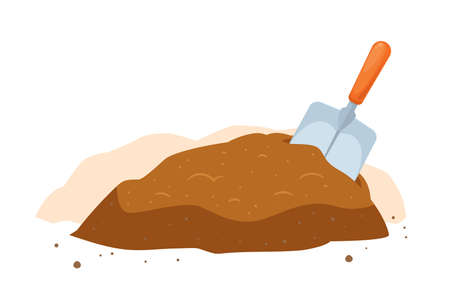 A garden shovel and the soil. Isolated Vector Illustration