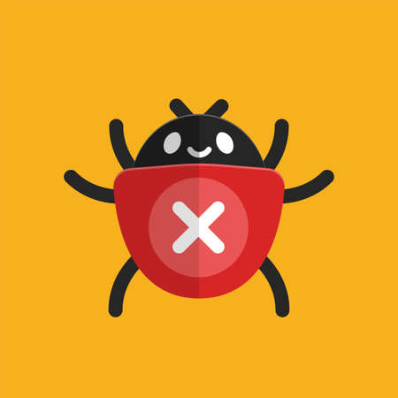 a computer bug with x sign. Vector Illustration
