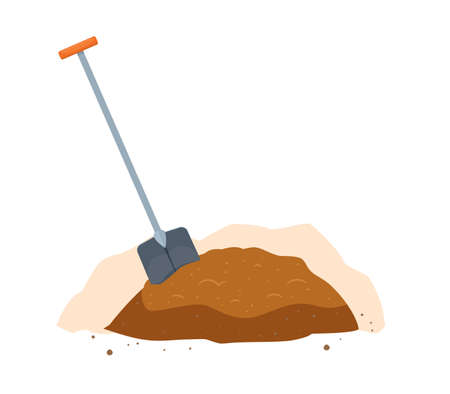 A shovel and the soil. Isolated Vector Illustration  イラスト・ベクター素材