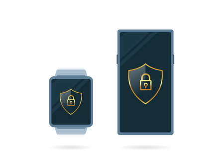 A digital smart watch and smart phone. Isolated Vector Illustration