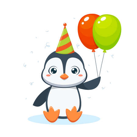 A cute penguin is holding two balloons. Isolated Vector Illustration