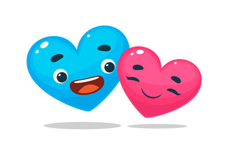 The happy hearts. Blue and Pink. Isolated Vector Illustration