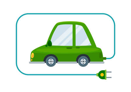 The Rechargeable green car. Isolated Vector Illustration  イラスト・ベクター素材