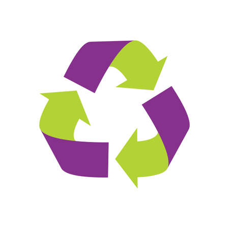 A recycle sign. Purple and Green. Isolated Vector Illustration