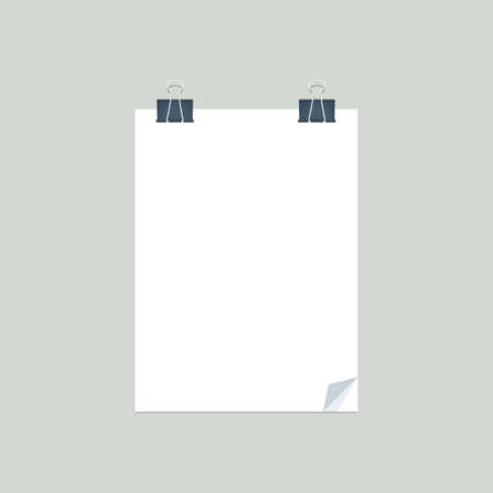 The Paper with two binder clippers. Isolated Vector Illustration