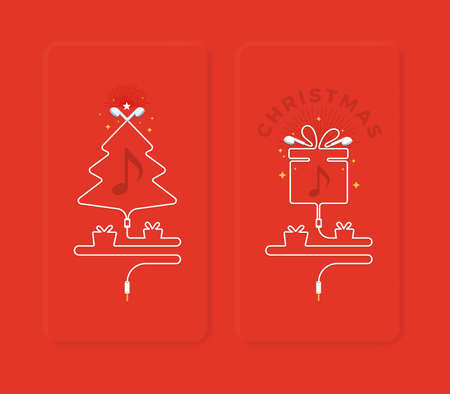 Shape of Christmas tree and a gift box from earphones. Vector Illustration 写真素材