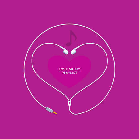 Shape of heart from earphones. Vector Illustration