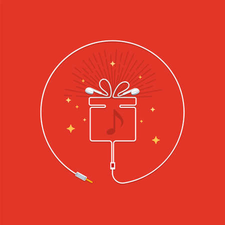 Shape of a gift box from earphones. Vector Illustration