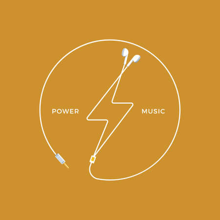 Shape of thunder from earphones. Vector Illustration