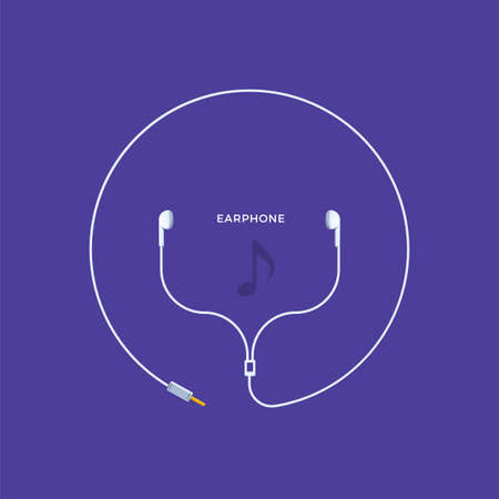 Earphones on indigo background. Isolated Vector Illustration  イラスト・ベクター素材