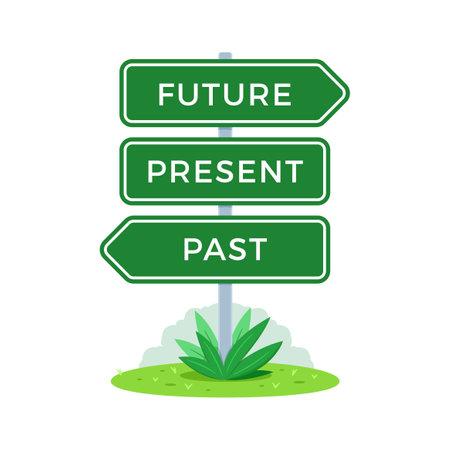 The Road Sign. Future, Present, Past. Vector Illustration Vecteurs