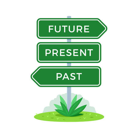 The Road Sign. Future, Present, Past. Vector Illustration