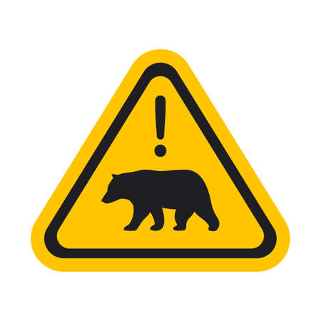 The Bear Warning Sign. Isolated Vector illustration  イラスト・ベクター素材