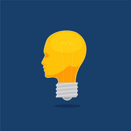 The Light Bulb with Head Shape. Isolated Vector illustration