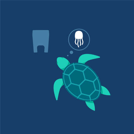 The Sea Turtle and plastic bag. Isolated Vector Illustration